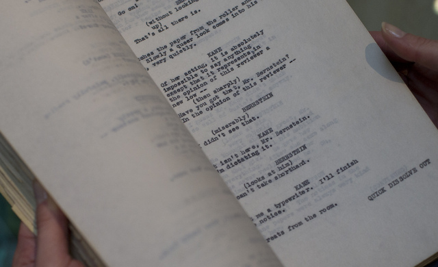 A page of the originally titled 'American' or as it is now known 'Citizen Kane' film which was Orson Well working copy of the script held by an employee of Sotheby's auction house in  London, Thur ...