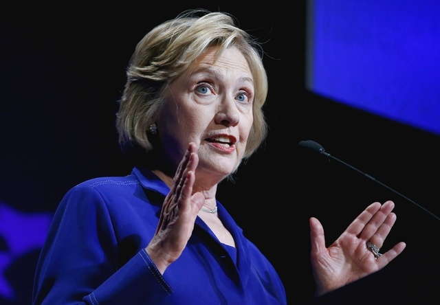 Former Secretary of State Hillary Rodham Clinton speaks at a student conference for the Clinton Global Initiative University at Arizona State University, Friday, March 21, 2014, in Tempe, Ariz. (A ...