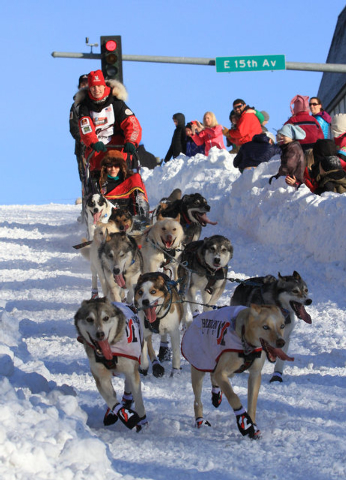 Musher Aliy Zirkle of Two Rivers, Alaska, drives her team down the Cordova Street hill during the ceremonial start of the 2014 Iditarod Trail Sled Dog Race on Saturday, March 1, 2014, in Anchorage ...