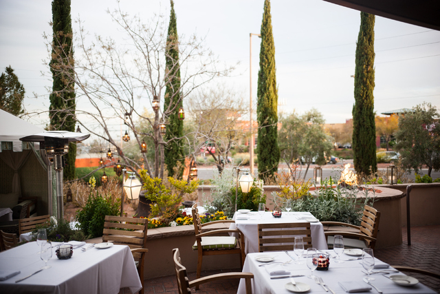 Part of the outdoor dining area is seen at Vintner Grill, 10100 W. Charleston Blvd., in the Summerlin area on Thursday. (Chase Stevens/Las Vegas Review-Journal)