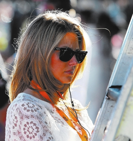 Amy Reimann, girlfriend of Dale Earnhart Jr., was on hand at the Las Vegas Motor Speedway on Saturday. (John Locher/Las Vegas Review-Journal)