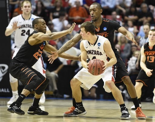 Gonzaga guard Kevin Pangos is surrounded by Oklahoma State guard Markel Brown, left, and Kamari Murphy during the second half in a second-round game in the NCAA college basketball tournament Frida ...