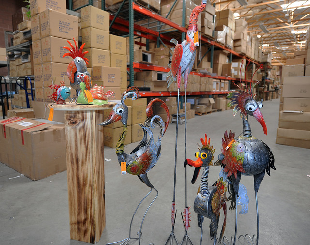Bali Garden lawn and garden ornaments are seen at G.W. Schleidt's warehouse in Las Vegas. The ornaments will be displayed at the ASD Las Vegas Trade Show opening Sunday at the Las Vegas Conventi ...