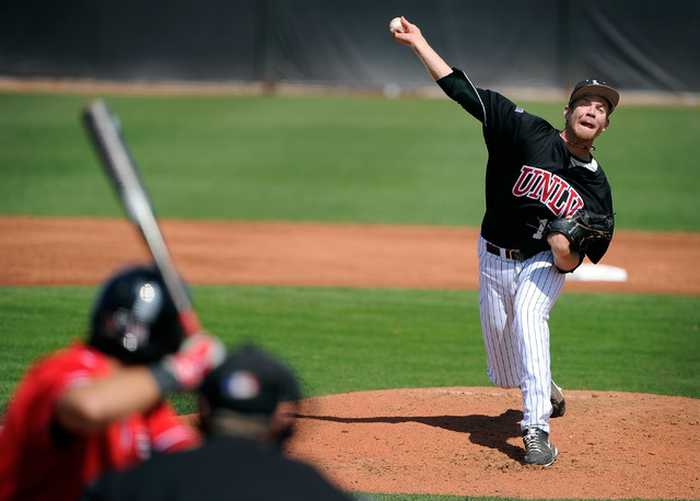 UNLV pitcher Bryan Bonnell fires a shot against San Diego State during a NCAA baseball game at Wilson Stadium on Sunday, March 23, 2014. (David Becker/Las Vegas Review-Journal)