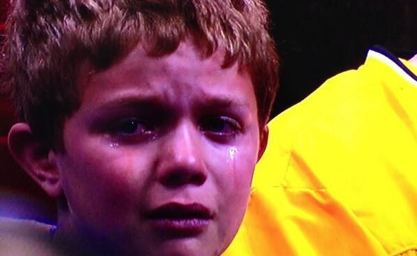 This little guy, now known as #CryingKansasKid on Twitter, was upset the second-seeded Jayhawks could not handle Stanford in Sunday's NCAA Tournament game in St. Louis.