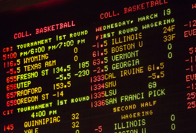 College basketball odds are displayed at the Sunset Station sports book Wednesday, March 19, 2014. (Samantha Clemens/Las Vegas Review-Journal)