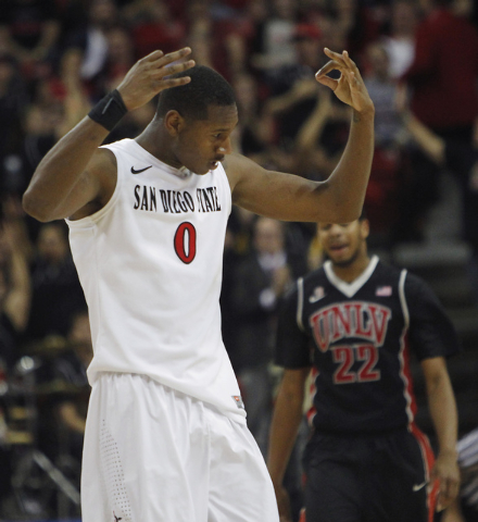 San Diego State's Skylar Spencer (0) signals a three point shot against UNLV during their Mountain West basketball tournament semi-final game at the Thomas & Mack Center in Las Vegas on March 14,  ...