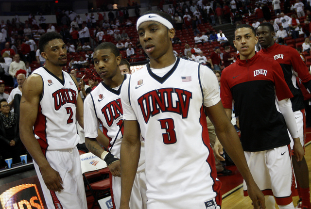 Kevin Olekaibe and the Rebels must win three games in three days at the Thomas & Mack if they want to go to the Big Dance. (Jason Bean/Las Vegas Review-Journal File)