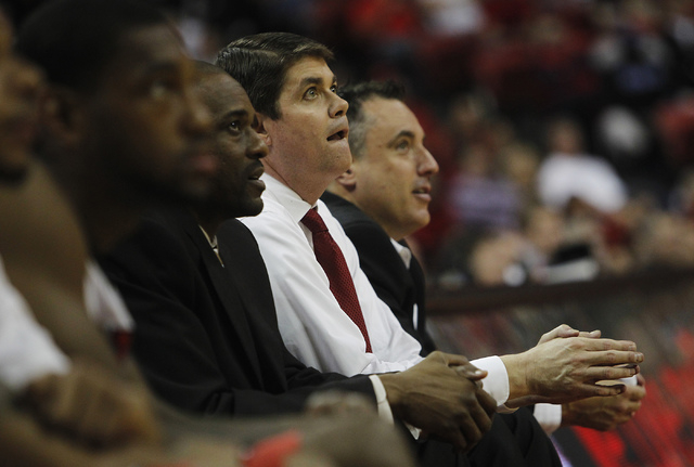 UNLV head coach Dave Rice takes in the action against Colorado State during their basketball game at the Thomas & Mack Center in Las Vegas on Feb. 26, 2014. (Jason Bean/Las Vegas Review-Journal)