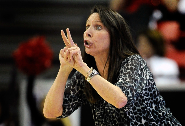 UNLV coach Kathy Olivier calls to her teams during an NCAA college basketball game against San Jose State in the Mountain West Conference women's tournament Monday, March 10, 2014. (David Becker/L ...