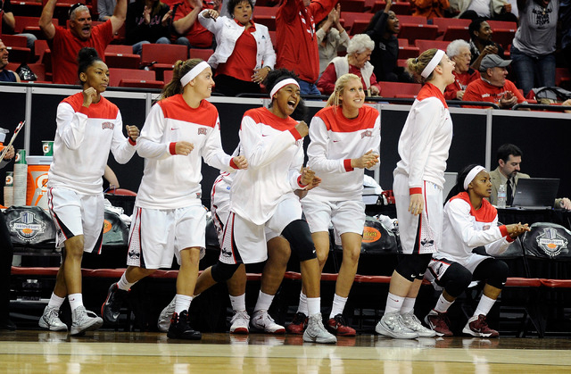 The UNLV bench cheers after the Rebels defeated San Jose State at an NCAA college basketball game in the Mountain West Conference women's tournament at the Thomas & Mack Center Monday, March 10, 2 ...