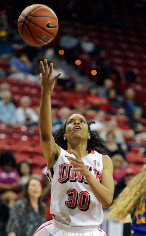 UNLV's Mia Bell (30) shoots against San Jose State during the second half of an NCAA college basketball game in the Mountain West Conference women's tournament Monday, March 10, 2014. UNLV won 78- ...