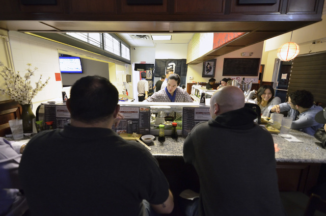 The sushi bar is shown at Blue Fin Sushi at 3980 E. Sunset Road in Las Vegas on Saturday, Feb. 22, 2014. (Bill Hughes/Las Vegas Review-Journal)