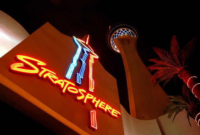 The Stratosphere Resort and Casino's main entrance and tower pictured on Tuesday, Feb. 28, 2006. (RUBEN D. LUEVENO/REVIEW-JOURNAL)