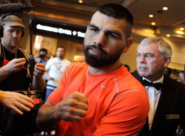 Boxer Alfredo Angulo strikes a pose after his public workout at the MGM hotel-casino on Wednesday, March 5, 2014. Angulo, from Mexico, is scheduled to take on Canelo Alvarez in a 12 round welterwe ...