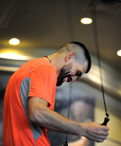 Boxer Alfredo Angulo works out during a public display at the MGM hotel-casino on Wednesday, March 5, 2014. Angulo, from Mexico, is scheduled to take on Canelo Alvarez in a 12 round welterweight b ...
