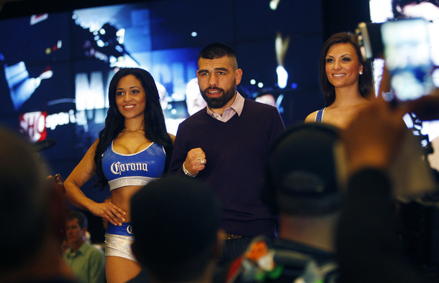 Boxer Alfredo Angulo poses for photographs after arriving at the MGM Grand prior to his junior middleweight fight against Canelo Alvarez in Las Vegas on Tuesday, March 4, 2014. (Jason Bean/Las Veg ...