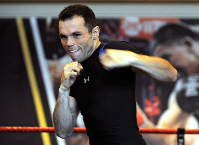 Boxer Ricardo Alvarez works out during a public display at the MGM hotel-casino on Wednesday, March 5, 2014. Alvarez, from Mexico, is scheduled to take on Sergio Thompson in a 10 round lightweight ...