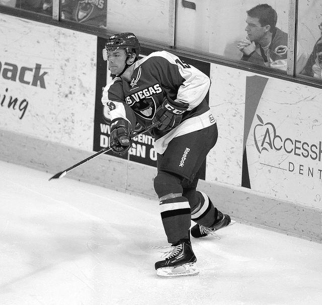 Las Vegas Wranglers defenseman Brendan Rempel passes the puck during their ECHL hockey game against the Idaho Steelheads at Orleans Arena in Las Vegas Friday, February 28, 2014.(Josh Holmberg/Las  ...