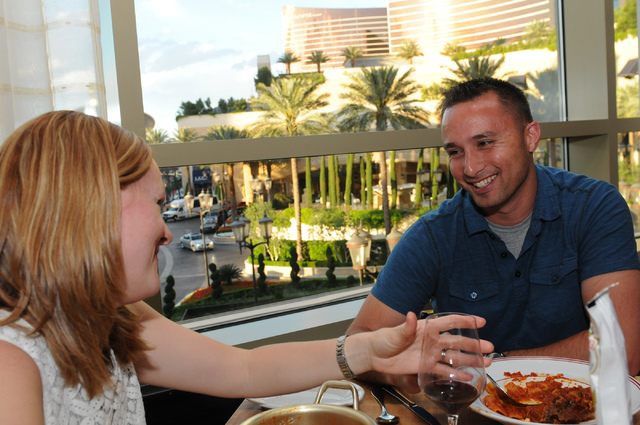 Leah Koper, left, and her husband Steve, dine at Buddy V's Ristorante at the Grand Canal Shoppes at The Venetian casino-hotel in Las Vegas Saturday, March 22, 2014. (Erik Verduzco/Las Vegas ...