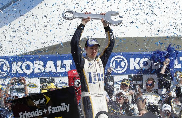 Brad Keselowski celebrates in victory lane at Las Vegas Motor Speedway after winning the Kobalt 400 NASCAR Sprint Cup race on Sunday, March 9, 2014 in Las Vegas. (Justin Yurkanin/Las Vegas Review- ...