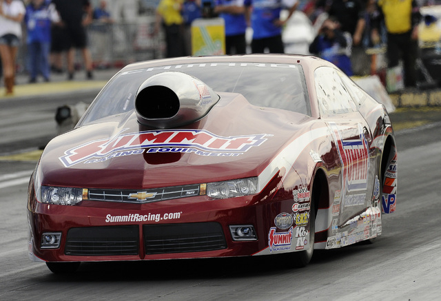 NHRA Pro Stock driver Jimmy Alund makes a pass of 207.98 MPH at 6.67 seconds elapsed time in the final qualifying session for the SummitRacing.Com Nationals at The Strip at Las Vegas Motor Speedwa ...