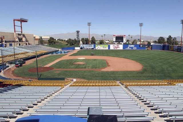 The grass at Cashman Field is readied Wednesday, March 13, 2013, prior to the Big League Weekend in Las Vegas. The Chicago Cubs will play the Texas Rangers March 16-17, 2013. (Jerry Henkel/Las Veg ...