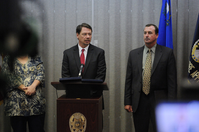 Clark County School District Superintendent Pat Skorkowsky, left, and Las Vegas police Capt. Brett Primas, speak during a press conference on an ongoing investigation of misuse of public funds at  ...
