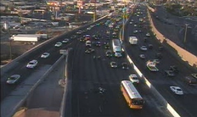 Two lanes of traffic on northbound Interstate 15 at Charleston Boulevard are open as the Nevada Highway Patrol investigates two accidents involving motorcycles Monday morning. (Courtesy/NDOT)