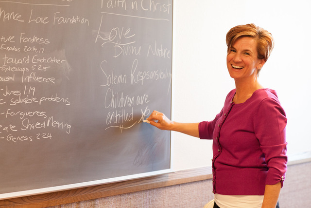 Sunday school teacher Kim Aitken teaches a lesson on marriage and family relations Feb. 22 at The Church of Jesus Christ of Latter-day Saints'  Cimarron Meetinghouse, 9485 S. Cimarron Road. (Sp ...