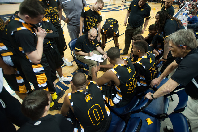 Clark coach Chad Beeten talks to his team in the final minutes of the Division I -A state final on Saturday. Clark defeated Elko 43-25. (Kevin Clifford/Las Vegas Review-Journal)