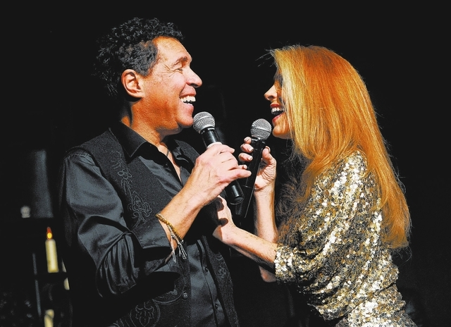 Husband and wife singers Clint Holmes, left, and Kelly Clinton sing while on stage together during open mic night at the Bootlegger Bistro on Monday, March 3, 2014. (David Becker/Las Vegas Review- ...