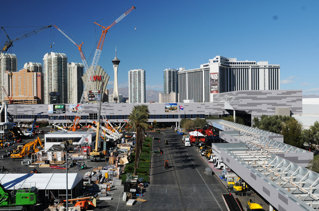 Crews set up for the upcoming CONEXPO-CON/AGG construction show at the Las Vegas Convention Center in Las Vegas Thursday, Feb. 27, 2014. The event is scheduled from March 4-8. (Erik Verduzco/Las V ...