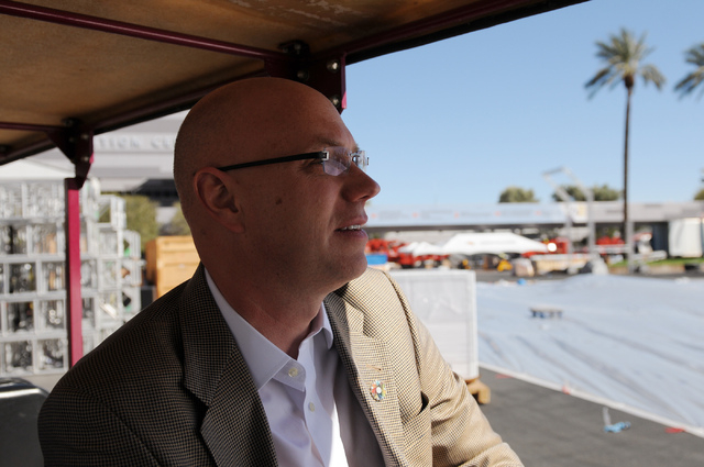 Steve Moster, president at Global Experience Specialists, tours the CONEXPO-CON/AGG construction show site at the Las Vegas Convention Center in Las Vegas Thursday, Feb. 27, 2014. The event is sch ...