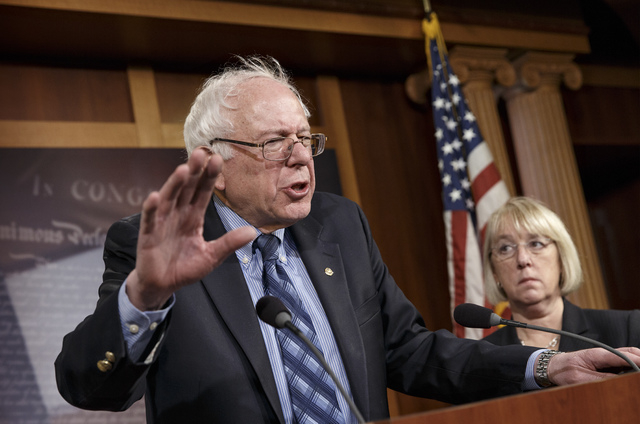 Sen. Bernie Sanders, I-Vt., chairman of the Senate Veterans Affairs Committee, joined at right by Sen. Patty Murray, D-Wash., talks to reporters after a divided Senate derailed Democratic legislat ...