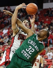 UNLV forward Carlos Lopez-Sosa pursues a rebound in a Jan. 3, 2013, game against Chicago State on Jan. 3 at the Thomas & Mack Center. Chicago State is in the Western Athletic Conference, which has ...