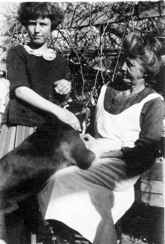 COURTESY PHOTO PA-NAMING LV-MAR01 Helen J. Stewart, left, pets a dog that has climbed up into the lap of her grandmother and namesake, Las Vegas pioneer Helen J. Stewart, in this photo from betwee ...