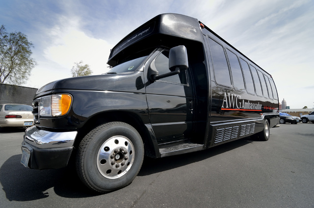 AWG Ambassador's 16-passenger limo coach is used for transportation from the airport to hotels or for group outings on the town, but the company occasionally takes groups to Lake Mead or the Grand ...