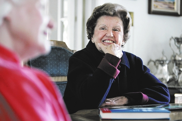 """Cathleen Allison/Nevada Appeal Barbara Vucanovich and her daughter Patty Cafferata talk from Patty's Reno home Monday, Feb. 20, 2006 about their book, """"Barbara F. Vucanovich: From Nevada to C ..."""