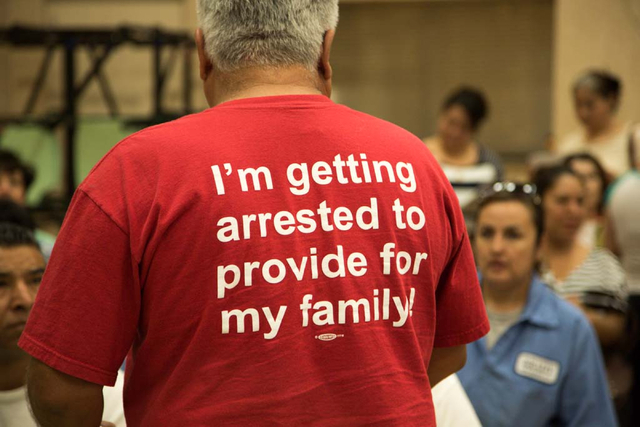 A Culinary Workers Union, Local 226 member's protest t-shirt is seen at the East Las Vegas Community Center on Thursday, March 27, 2014. Both culinary workers and members of Brady Laundries are vo ...