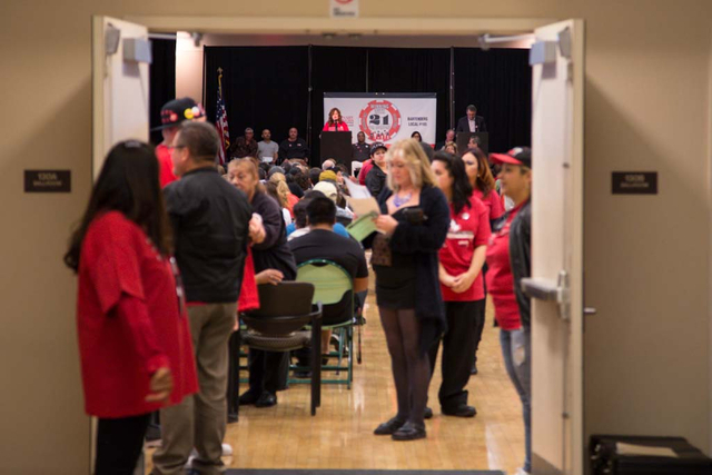 The Culinary Workers Union, Local 226 members meeting is seen from outside of the closed door session at the East Las Vegas Community Center on Thursday, March 27, 2014. Both culinary workers and  ...