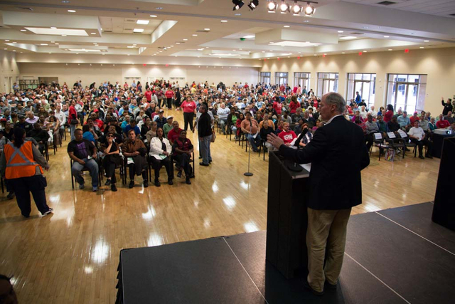 Unite Here President, D. Taylor, speaks to the members of the Culinary Workers Union, Local 226 during a closed door meeting at the East Las Vegas Community Center on Thursday, March 27, 2014. Bot ...