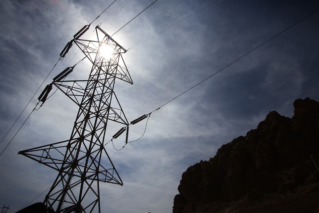 A power line as seen Thursday, March 20, 2014 at  Hoover Dam. Most of the electricity is sent to California. (Jeff Scheid/Las Vegas Review-Journal)