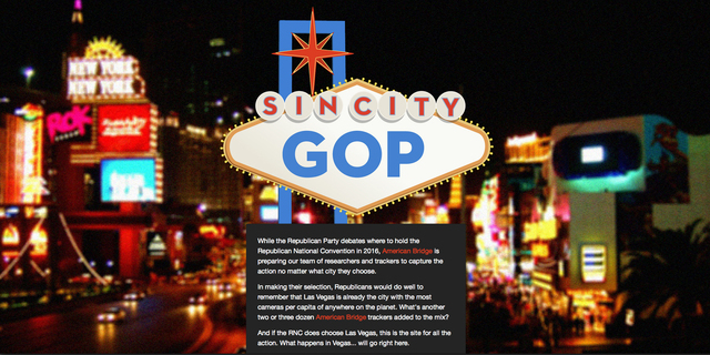 """The SinCityGOP.com website is shown Friday, March 7, 2014. The website was launched by American Bridge, a Democratic opposition research and tracking organization, which plans to deploy """"trac ..."""