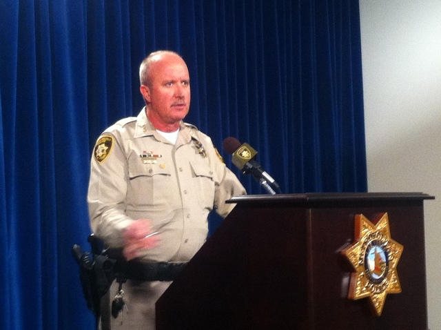 Undersheriff Dixon briefs media on officer involved shooting in which 58-year-old Ronald Wayne Tate was fatally shot south of Jean after chambering a round into his gun. (Tom Ragan/Las Vegas Revie ...
