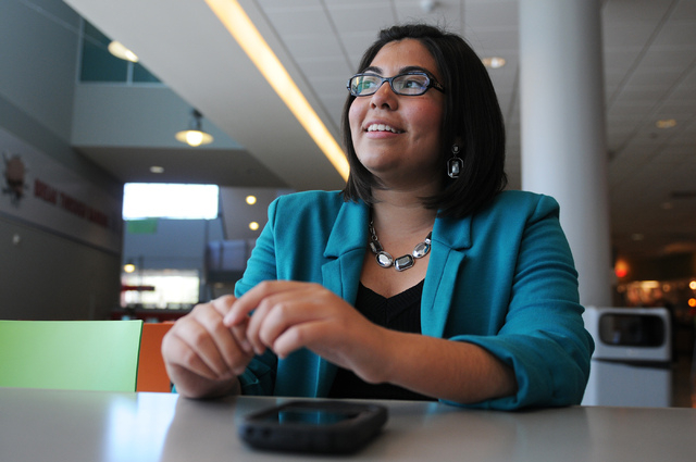 Blanca Gamez, 24, student at University of Nevada, Las Vegas, is interviewed about deferred action at the Student Union building in Las Vegas Tuesday, March 18, 2014. Gamez, who is pursuing her se ...
