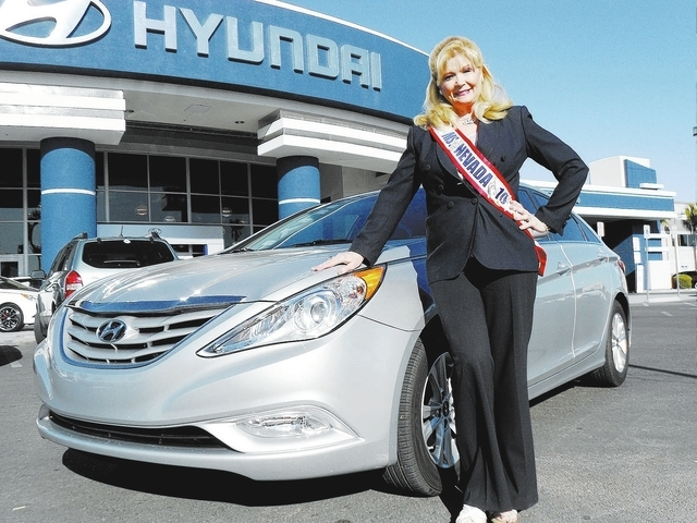 Courtesy photo Former entertainer and Ms. Senior Nevada America 2010 Marilyn Faye O'Leary traded in a 2011 Nissan Altima for a 2013 Hyundai Sonata GLS from Centennial Hyundai at 6200 Centenn ...
