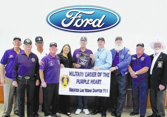 Courtesy photo  Members of the Military Order of the Purple Heart honored Friendly Ford for its many years of support. From left are Lt. Col. Len Yelinek; Sgt. Lou Jacobi; Col. Bill Olds; Sgt. Dic ...