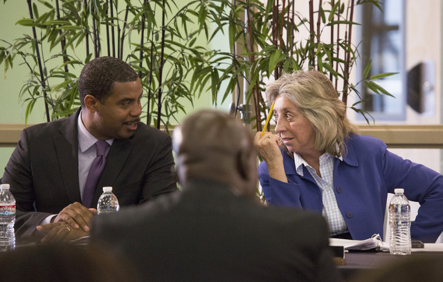 Rep. Steven Horsford, D-Nev.,left, and  Rep. Dina Titus, D-Nev., confer during the Education and the Workforce Committee Field Hearing at  Southwest Career and Technical Academy on Wednesday. (Jef ...