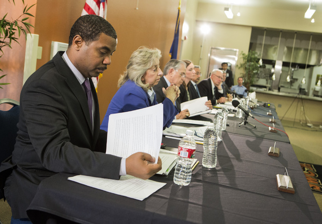 Rep. Steven Horsford,D-Nev.,left, and  Rep. Dina Titus, D-Nev.  during the  Education and the Workforce Committee Field Hearing at  Southwest Career and Technical Academy, 7050 West Shelbourne Ave ...